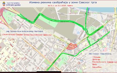 Измена режима саобраћаја током извођења радова на реконструукцији Савског трга (фаза II)