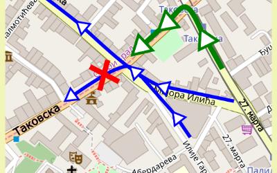 Измена режима саобраћаја на раскрсници Илије Гарашанина и Таковске улице