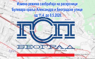 Радови на трамвајским шинама у раскрсници Булевара краља Александра и ул. Београдске