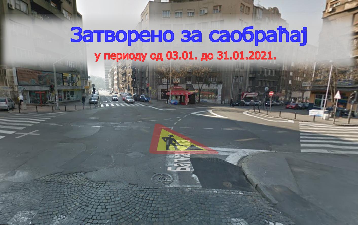 Затворена за саобраћај раскрсница улица Милована Миловановића, Балканске, Гаврила Принципа и Адмирала Гепрaта